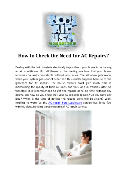 How to Check the Need for AC Repairs?